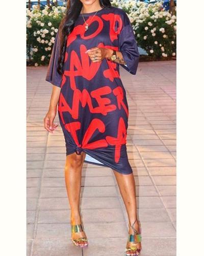 Round Neck Sleeve Loose Printed Large Size Dress