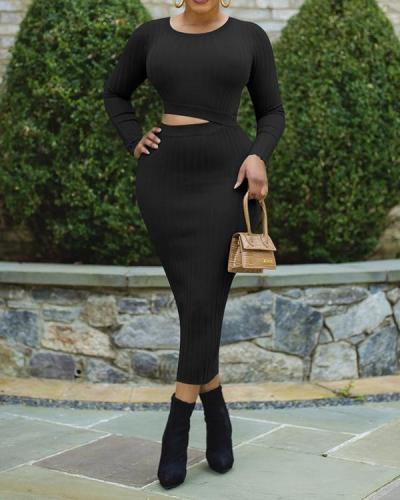 Solid Color Top& Skirt Sets