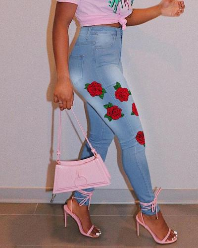 Rose Print High Waist Plus Size Jeans