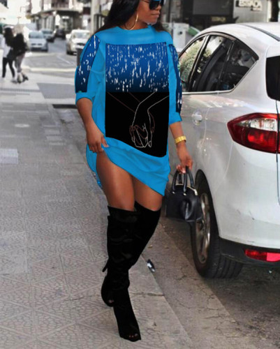 Fashion Casual Regular Print Mini Dress