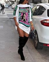 Loose Mid-length Print Sweater Dress