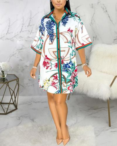 Casual Flower Printed Shirt Dress