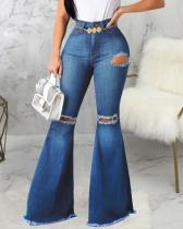 Sexy Fashion Ripped Elastic Skinny Denim Flared Pants