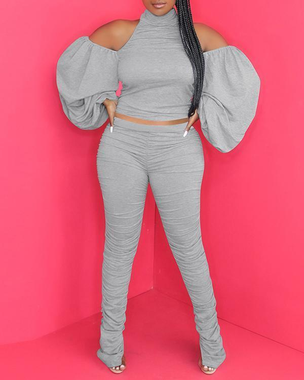 Ruched Backless Solid Two Piece Set