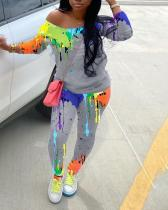 Ink-splattered Print Diagonal Collar Casual Long Sleeve Two-piece Suit