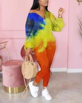 Fashion Tie-dye V-neck Zipper Jumpsuit