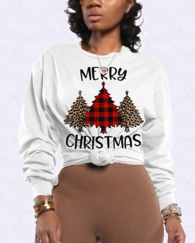 Casual Christmas Tree Print Tops Sweater