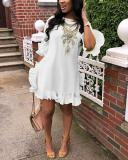Asymmetric Frilled Solid Color Dress