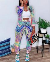 Colorful Printed Casual Jacket Pants Two-piece Suit