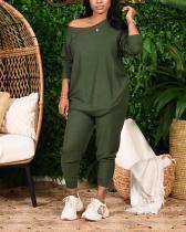 Lace-up Green Plus Size Two-piece Pants Set