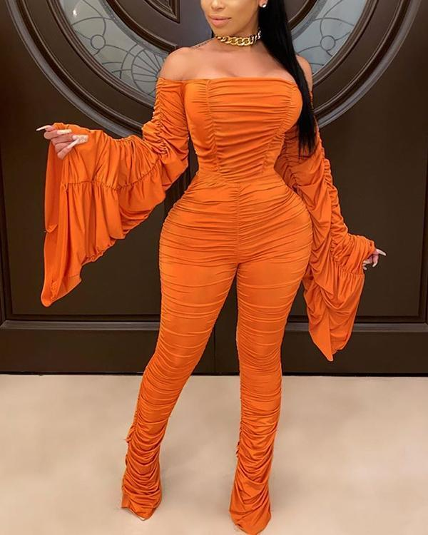 Stylish Dew Shoulder Fold Design Croci Plus Size One-piece Jumpsuit