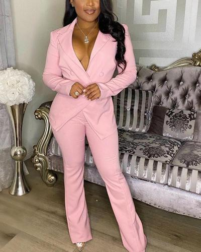 Long Sleeve Turndown Collar Solid Two Pieces Suits
