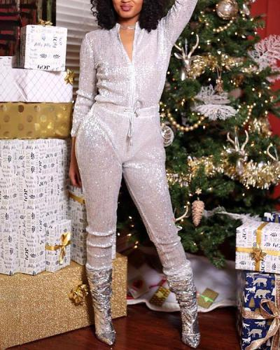 Sexy Loose Sequined Jumpsuit