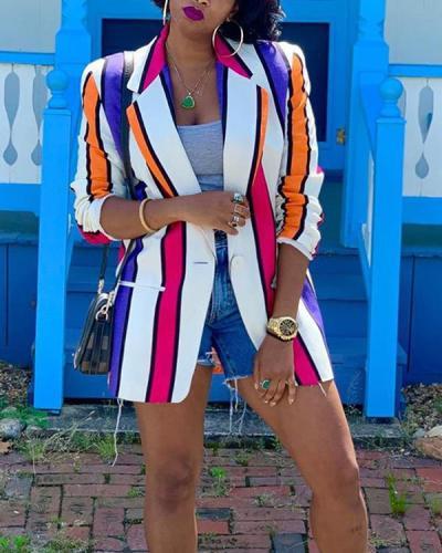Fashion Contrast Color Stripes Jacket