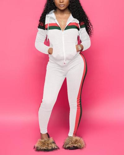 Sexy Stitching Casual Sports Hooded Two-piece Suit