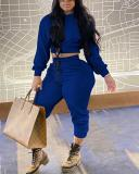 Hooded Collar Drawstring Waist Two Piece Sets