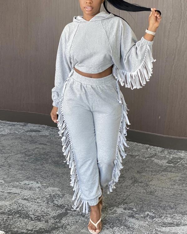 Hooded Collar Tassel Pocket Two Piece Sets