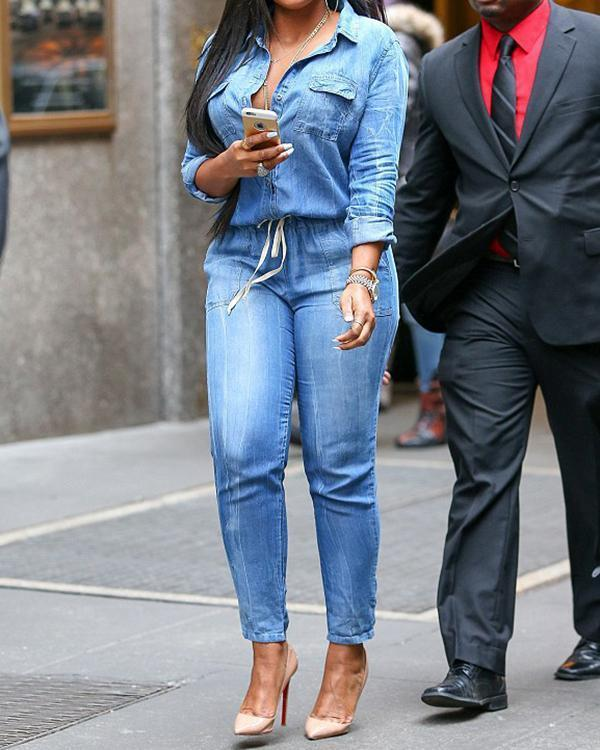 Denim Drawstring Waist Jumpsuit