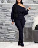 Casual One Shoulder Slimming Plus Size Jumpsuit