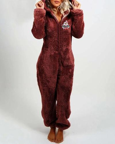 Plush Thick Plush Jumpsuit Hooded Pajamas Christmas Clothes
