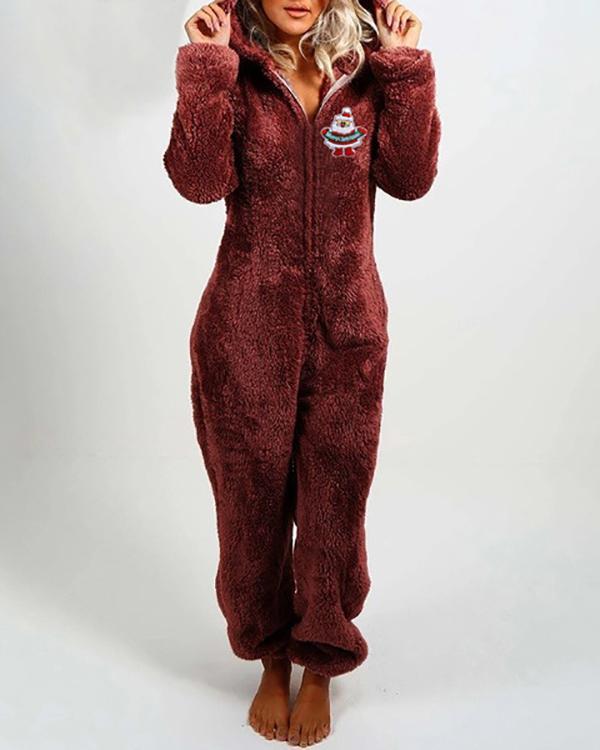 Plush Thick Plush Jumpsuit Hooded Pajamas Christmas Clothes