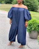 Plus Size Denim Off The Shoulder Wide Leg Jumpsuit