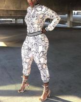 Snakeskin Printed Leisure Sports Two-piece Suit