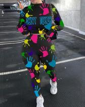 Palm Graffiti Print Long Sleeve Two-piece Suit