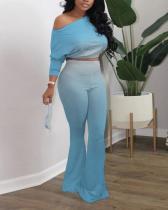 Oblique Shoulder Gradient Color Flared Pants Two-piece Suit