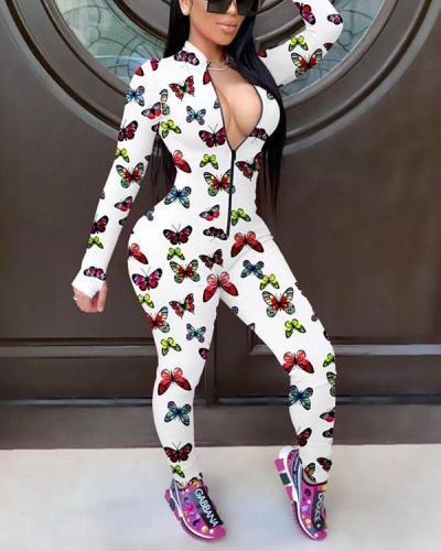 Fashion Slim Printed Zipper Long Sleeve Jumpsuit