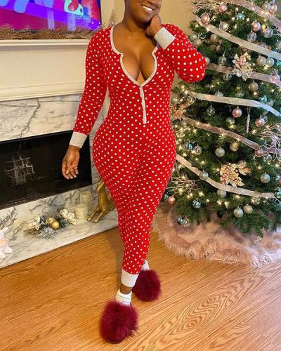 Christmas V-Neck Polka Dot Button Up Jumpsuit