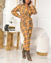 Casual Daily Plaid Fold Turndown Collar Regular Jumpsuits