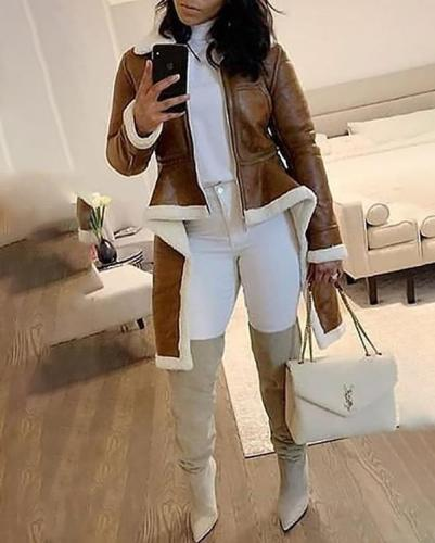 Fashion Casual Turtleneck Lamb Fur Leather Plus Size Irregular Coat