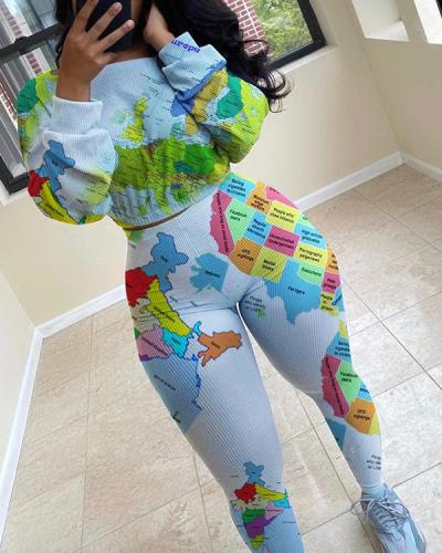 Printed Long Sleeve High Waist Skinny Tracksuit Two Piece Suits