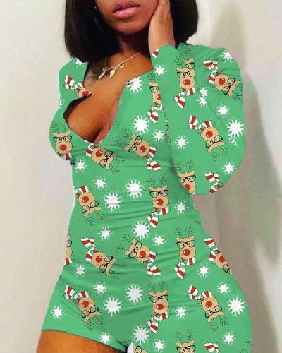 Christmas Print Slim Sexy Bodysuit Romper