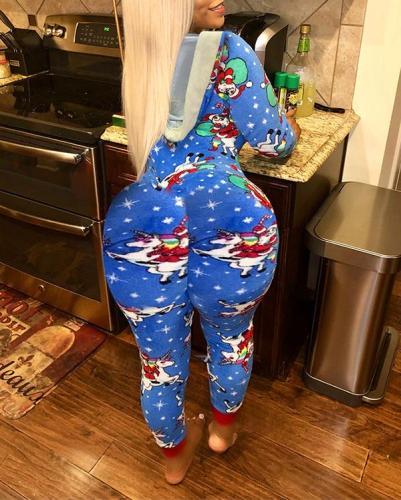 Hooded Christmas Printed Homewear V-neck Jumpsuit