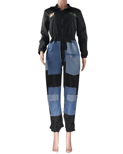 Denim Stitching Micro-chapter Casual Jumpsuit