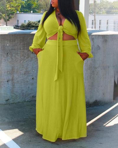Loose Plus Size Streamer Long-sleeved Shirt Elastic Waist Long Skirt Two-piece Suit
