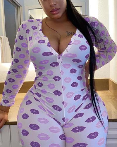 Casual Loose Lip Print Plus Size Home Wear Jumpsuit