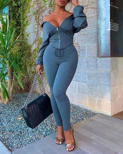 Casual Off Shoulder Solid Color Two-piece Set