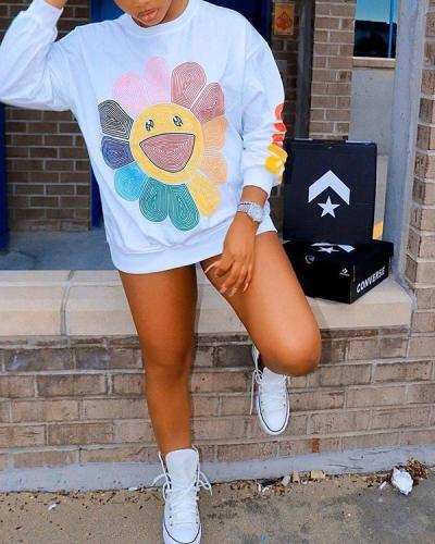 Colorful Sunflower Print Fashion Casual Sweatshirt