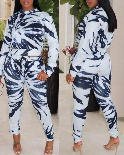 Color Printed Sexy Women's Two-piece Suit