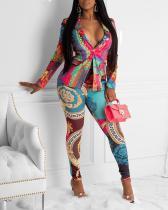 Sexy Slim Print Jacket Two-piece Suit