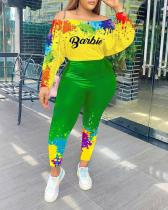 Color Splash Ink Contrast Letter Print Fashion Suit