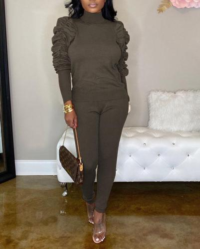 Pleated Sleeves Slim Two-piece Suit