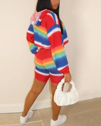 Urban Leisure Color Printing Hooded Sports Suit