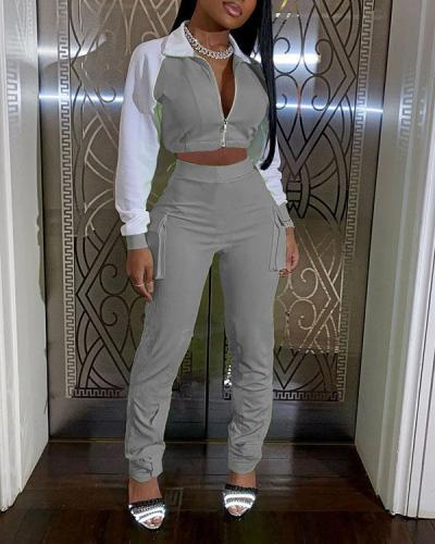 Color Matching Leisure Sports Luminous Strip Pocket Two-piece Suit