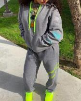 Hooded Collar Print Grey Plus Size Two-piece Pants Set