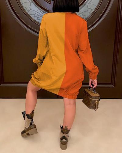 Fashion Casual Contrast Color Zipper Cardigan Dress