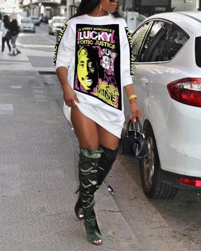 Long Sleeve Printed Fashion T-shirt Loose Dress